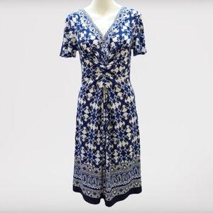 NorthStyle Navy White Design V-Neck Dress